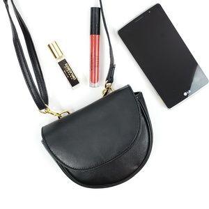 Vintage Black Leather Mini Bag Bumbag